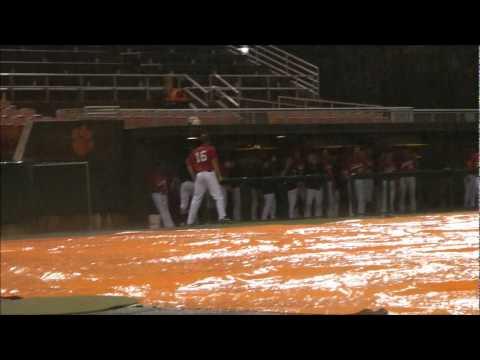 Clemson vs Davidson Baseball Rain Delay Soccer shoot out