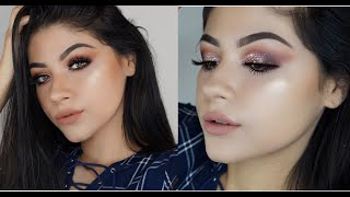 The Highly Requested Makeup Tutorial//Purple Smokey Eye with Rose gold Glitter