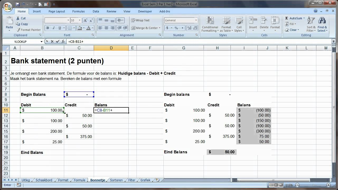 excel accounting format and formulas