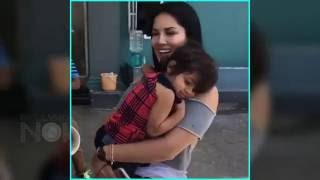 VIDEO Sunny Leone CUTE With Kid