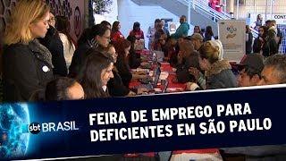 Feira de emprego para deficientes oferece mais de mil vagas em SP | SBT Brasil (18/07/19)