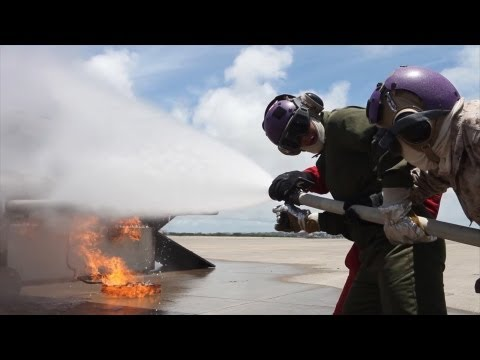 Marines Conduct Aircraft Firefighting Training