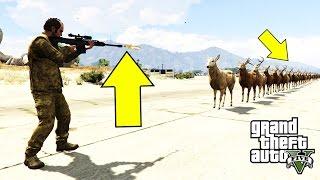 تحدي عجيب في قراند 5 سلاح السنايبر ضد مئة غزال والنتيجة مذهلة جدا   GTA V HEAVY SNIPER VS 100 DEERS