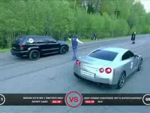 JEEP SRT8 VS R8 V10 + NISSAN GTR + X6M