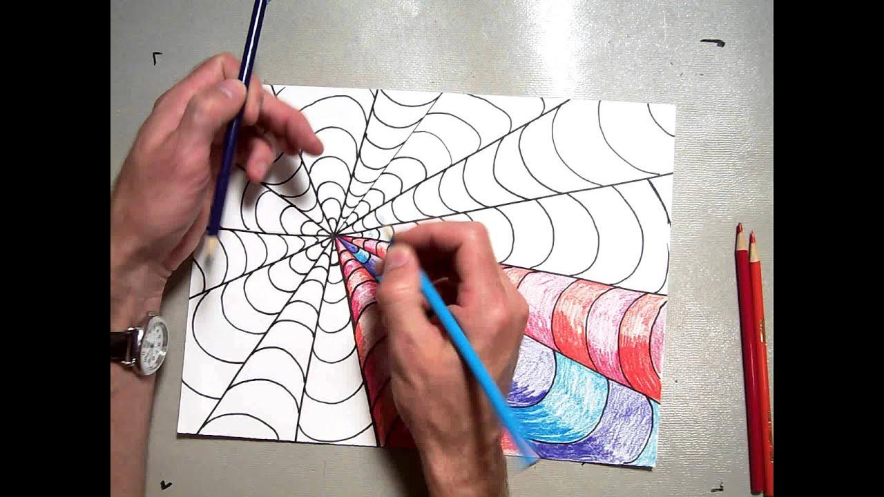 Op Art Vanishing Point Coloring A B Pattern (Part 2/2