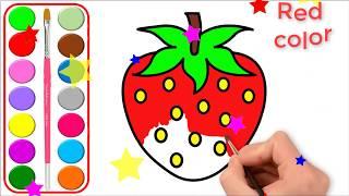 Dibujos para colorear y pintar de Glitter Strawberry l Aprender colores para niños