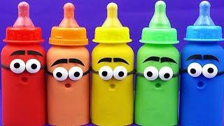 Making 5 Baby Milk Bottle Play Doh DIY Learn Colors Super wings Toys Surprise Eggs Nursery Rhymes