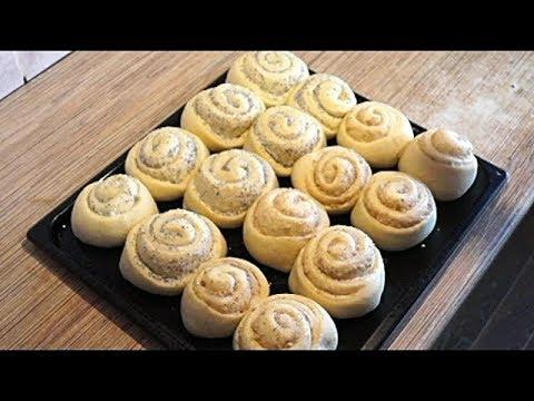Домашние  булочки самые вкусные с маком и грецким орехом