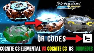 COGNITE C3 ELEMENTAL VS COGNITE C3 VS  DIOMEDES GAMEPLAY +QR CODES BEYBLADE BURST APP 25.1 MB