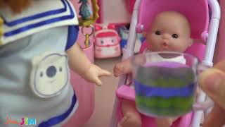 15.Baby doll pink car and slide house toys Baby Doli play