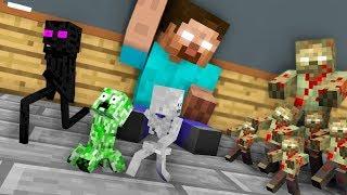 Monster School : TINY ZOMBIE APOCALYPSE CHALLENGE - Minecraft Animation