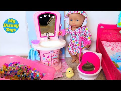 Baby Doll Morning Routine! Play Baby doll dress up in Pink Bedroom PlayToys