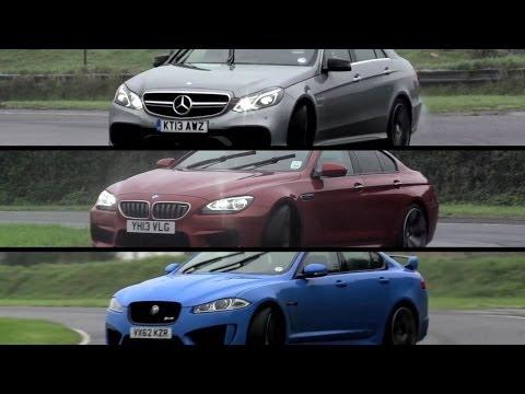 Mercedes-Benz E63 AMG S v BMW M6 Gran Coupe v Jaguar XFR-S - /CHRIS HARRIS ON CARS