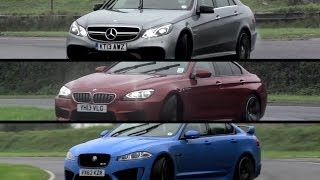 Mercedes-Benz E63 AMG S v BMW M6 Gran Coupe v Jaguar XFR-S – /CHRIS HARRIS ON CARS