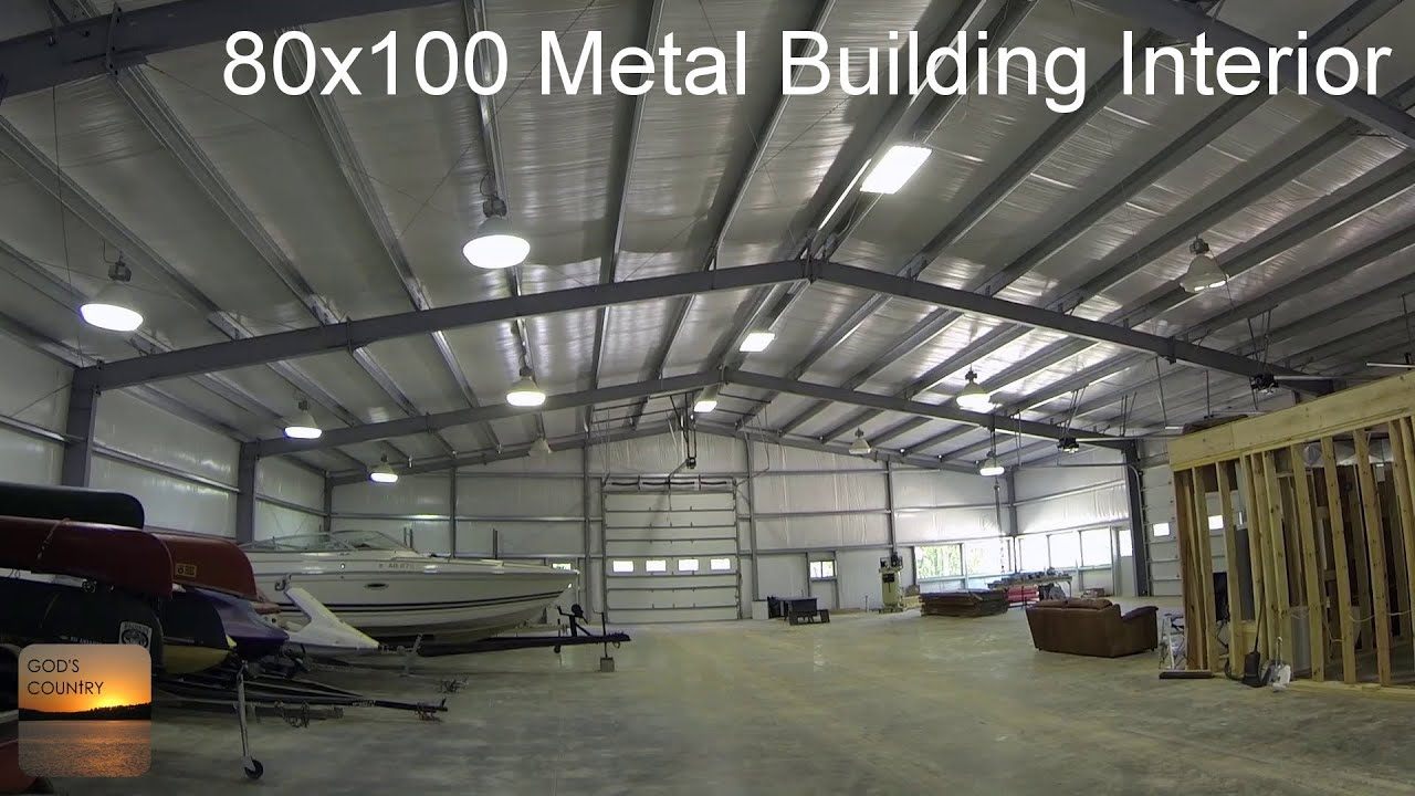 80x100 metal building update interior tour youtube for Metal building homes interior