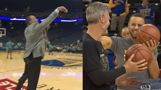 Dell Curry Still Got It! Hits Pregame 3 Off Dish From Steph | 02.01.17