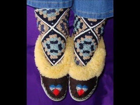 Как вязать носки из мотивов крючком  Howto crochet socks from motifs