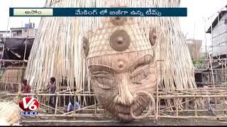 World's Tallest Bamboo Durga Idol being made in Assam