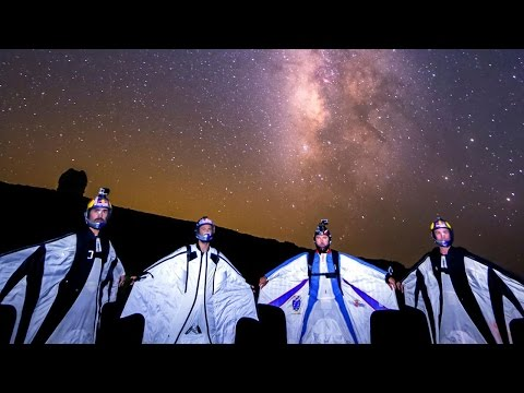 Wingsuit LED Light Show - Flying Among the Shooting Stars