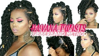 EASY JUMBO HAVANA TWISTS RUBBER BAND METHOD + STYLING ON NATURAL HAIR | BEGINNER FRIENDLY |TASTEPINK