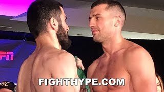 GVOZDYK GLARES AT BETERBIEV WITH ICE COLD STARE; INTENSE FINAL FACE OFF AFTER WEIGH-IN