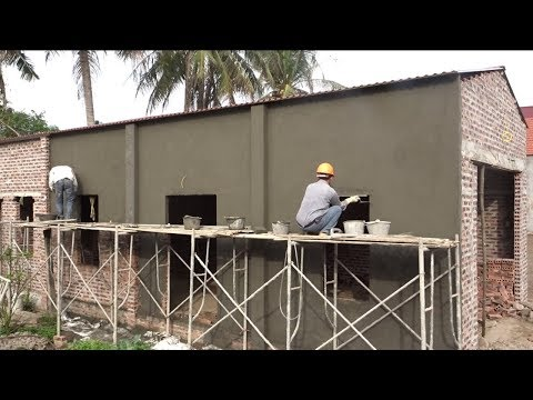 Amazing Construction Rendering Wall Brick Using Sand and Cement - Building House, Step By Step