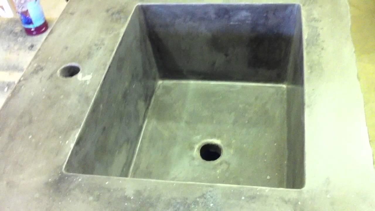Concrete Countertop Integral Rectangle Sink Mold - YouTube