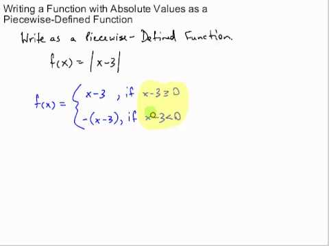 Write Absolute Value Functions as Piecewise Functions