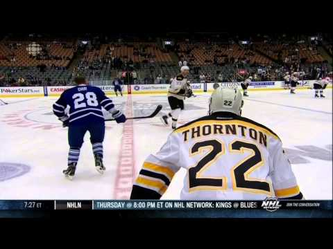Colton Orr vs Shawn Thorton fight Mar 23 2013 Boston Bruins vs Toronto Maple Leafs NHL Hockey