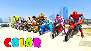 COLOR MotorCycles with superhero Jump in big Boat  3D animation cartoon for kids