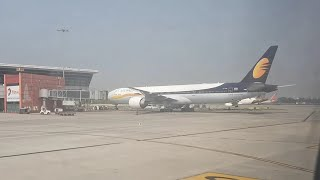 Exploring Delhi Airport from Oman Air complete runway and parked aircraft view