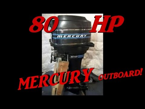 Cold Start 1978 Outboard  engine. Mercury 80 HP two-stroke