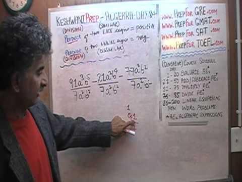 Algebra Help Day 84 - Math Tutor - GRE, GMAT, SAT Prep - Online via Skype KeshwaniPrep.com