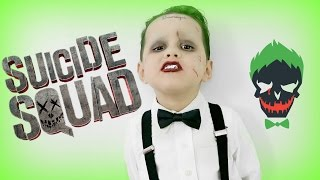 SQUAD: Joker Makeup Tutorial  2016  (DIY KIDS HALLOWEEN COSTUMES)
