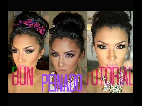Cabello Largo Y Levantado Facil  easy Bun Long Hair Tutorial video