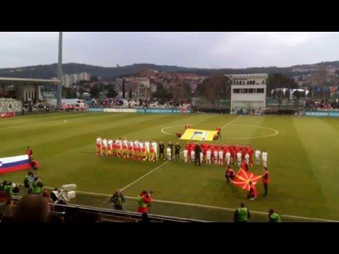 Macedonia, Slovenia national anthems 23.03.2016