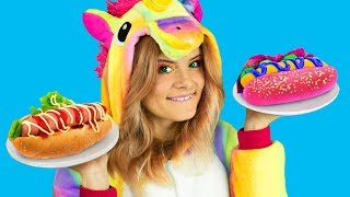 6 DIY Amazing Unicorn Food vs Real Food Challenge!