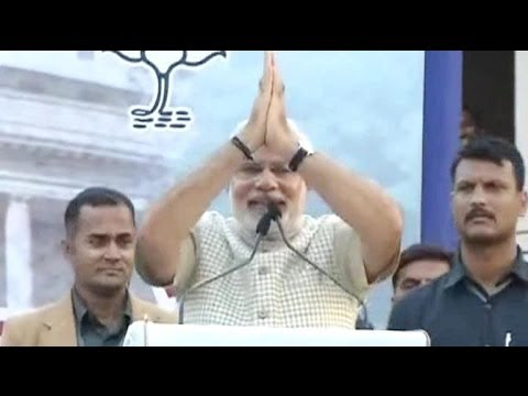 At first victory rally, Narendra Modi says good days are upon us