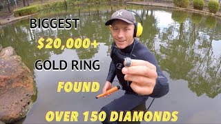Found Biggest Gold Diamond Ring Ever! DEADLY POLLUTED POND 🚱 Underwater Metal Detecting