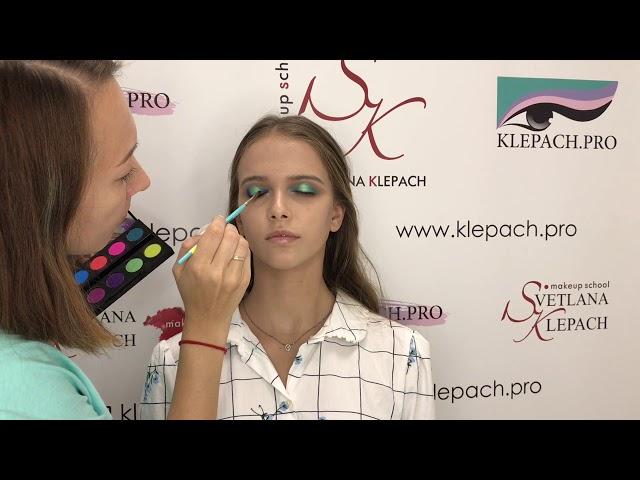 Яркий макияж в бирюзовой гамме от Светланы Клепач. Пигменты klepach.pro