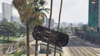 GTA V - Insane Stunt - Car Get Stuck over the top in tree branch