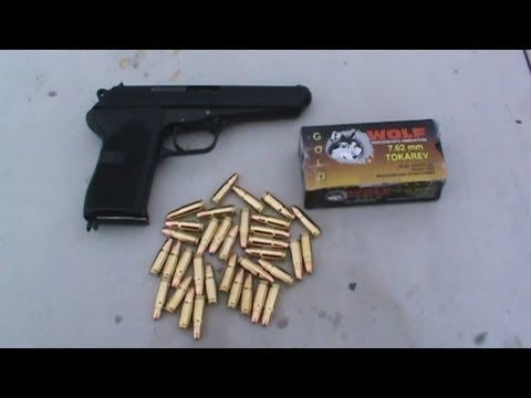 Czechoslovakian CZ 52 shooting Wolf Gold 7.62x25mm Tokarev hollowpoints at watermelons