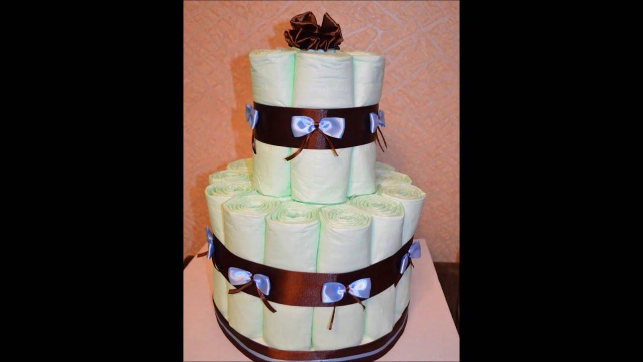 Торт из памперсов своими руками пошагово для девочек одноярусный