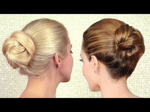 Elegant sleek bun updo inspired by Angelina Jolie