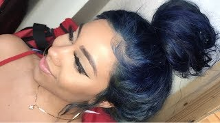 HOW TO DYE DARK HAIR TO BLUE HAIR