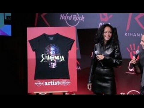 Rihanna at Hard Rock Café Paris to announce the release of a charity t-shirt - Part 1