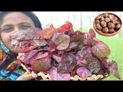 Delicious Lal Shak Bora Recipe Village Style Yummy Farm Fresh Red Spinach Bora Cooking Village Food