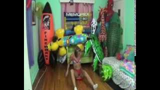 Girl destroy beachball