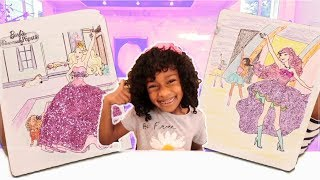 Barbie Princess vs Barbie Pop Star Coloring Pages for Kids - Glitter Toy Art
