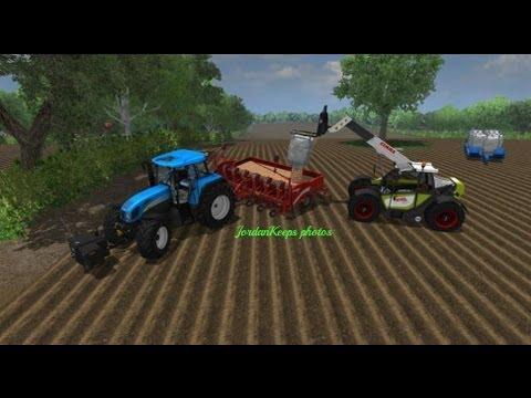 New Holland T7550 planting Potatoes Farming Simulator 2013